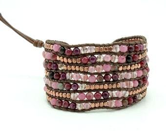 Cherry quartz,jasper,crystal,pink gold plated beads wrap bracelet.