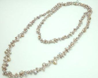 Pink freshwater pearl hand knotted on silk thread long necklace