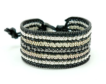 Silver plated box chain,beads wrap bracelet.