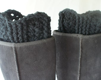 Boot Cuffs, Crochet Boot Toppers, Womens Boot Socks, XL Leggings, Black Boot Socks, Black Boot Cuffs, Leg Warmers, Fashion Boot Cuffs