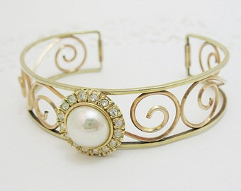 Pretty Old Signed Krementz Gold Filled Cuff Bracelet with Pearl and Rhinestones Added