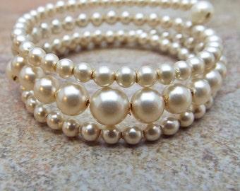 Little Girls Memory Wire Old Glass Pearl Bracelet