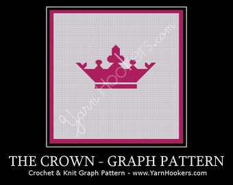 Pink Majesty Crown - Afghan Crochet Graph Pattern Chart - Instant Download