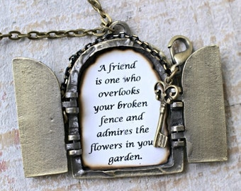 Secret Door Necklace, Personalized Necklace, Antique Locket Necklace, Friendship Necklace, Friendship Quote, Secret Garden Locket Pendant