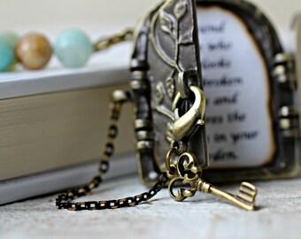 Secret Door Necklace, Personalized Necklace, Antique Locket Necklace, Friendship Necklace, Friendship Quote, Secret Garden Locket Pendant