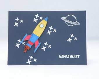 Space Birthday Card in Blue