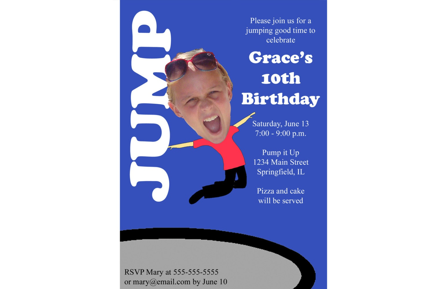 trampoline or bounce house birthday party invitation custom 128270zoom