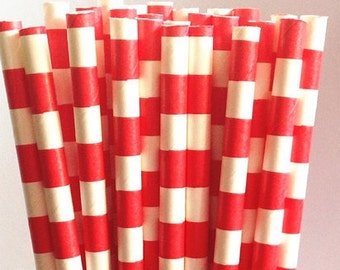 Bright Red Sailor Striped Paper Straws