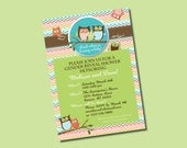 Owl Gender Reveal Baby Shower DIY Party Invitation. Fun chevron pattern. Customized just for you. Coordinates with Owl Party Package.