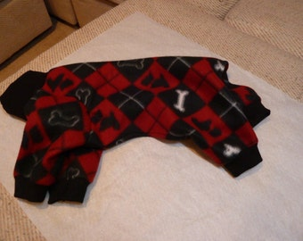 Medium Black and Red Argyle Fleece Doggy Pajama With Scotty Dogs and Bones, Doggy Onesies, Doggy PJs