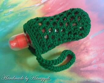 Bottle Cozy Wristlett - Water Bottle Holder Cozy Carrier - Handmade Crochet - in Winter Green