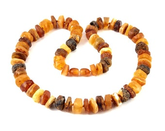 Natural Baltic Amber Necklace Raw Unpolished Button Shape Beads 48 cm 19 inches