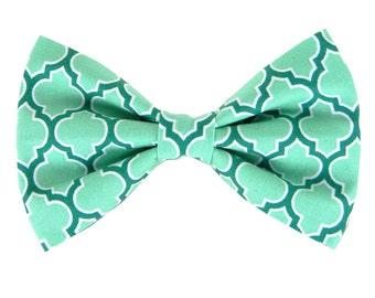 Aqua Turquoise Dog Bow Tie, Dog Collar Bow Tie: Seagrove Lattice