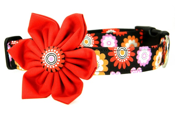 Dog Collar Flower Set, Red Pink Orange Flowers Dog Collar with Flower: Speckle Blooms