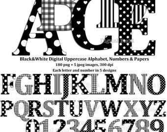 Black and white uppercase alphabet and number clip art set + digital scrapbooking paper-printable digital letters & numbers-instant download