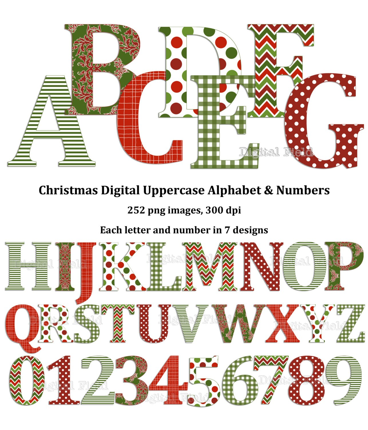 Christmas Uppercase Alphabet And Number Clip Art Set