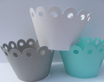 Cupcake wrappers, Gray, white, teal/aqua Set of 12