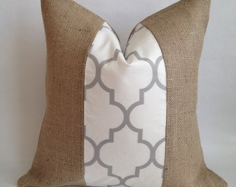 Moroccan Quatrefoil Fabric and Natural Burlap Pillow Cover