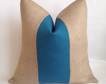 Teal Linen/Cotton Fabric and Burlap Pillow Cover
