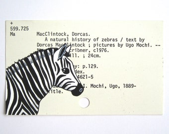 Zebra Library Cart Art - Print of my painting of zebra on library card catalog card