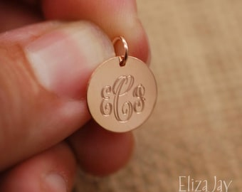 """1/2"""" very small engraved monogram charm only. 14kt rose gold filled ."""