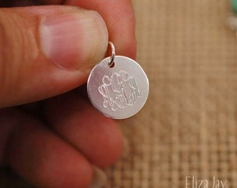 "1/2"" very small engraved monogram charm only .925 sterling silver"