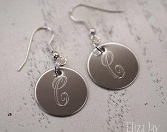 engraved elegant monogram earrings in stainless steel