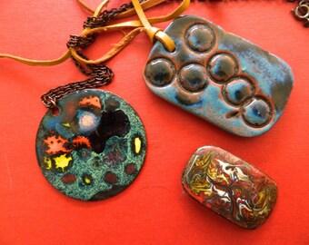 Vintage Handmade Enamel Pendants.