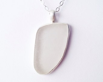 Snow White Sea Glass Bezel - Authentic Sea Glass Pendant Jewelry