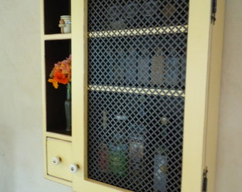 Cabinet- Rustic Wall Cabinet with Ornate Sheet Metal Door-  MADE to ORDER