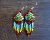 Seed Bead Earrings- Native Beading- Traditional Pattern