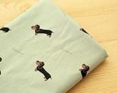 Cotton Fabric Dachshund - Light Khaki - By the Yard Animal Fabric 38905