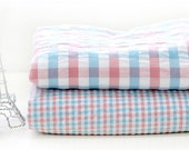 Pink Blue Plaid Cotton Seersucker - By the Yard WIDE 39605