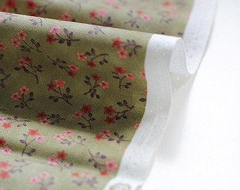 Cotton Fabric Tiny Flowers - Khaki - By the Yard 38516