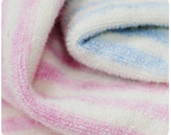 Organic Cotton Terry Cloth - Melange Pink Stripe or Melange Blue Stripe - By the Yard 77700