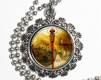 Clockwork and Yellow Dragonfly Art Pendant, Steampunk Resin Charm Necklace