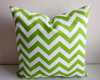 Chevron Zig Zag Pillow Cover Lime Green Chartreuse Modern Contemporary Retro Cushion Accent Decorative Geometric