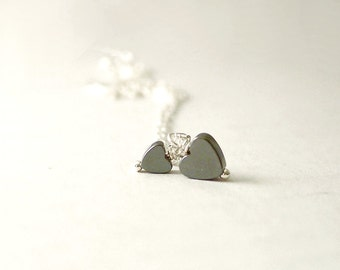 Two hearts - tiny hematite double hearts on sterling silver - delicate jewelry - illusy