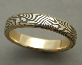 22kt yellow gold and sterling Mokume gane band.