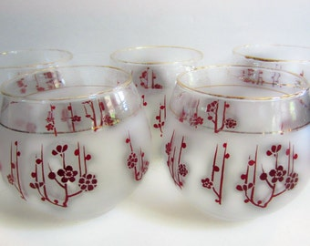 Low Ball Tumblers Red Flowers Frosted Glass Gold trim, Set of 5
