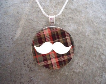 Plaid Mustache Jewelry - Glass Pendant Necklace - Mustache 7