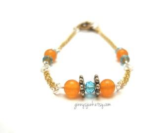 CLEARANCE - Orange & Blue Bead Bracelet - Minimalist Jewelry - 7 1/4 Inch Long Bracelet