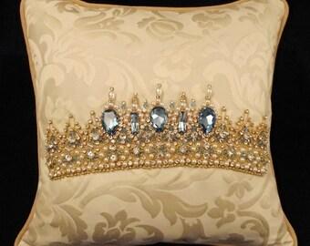 Aquamarine - Pear Drop - Tiara Pillow