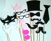 Photo Props Master Set 16 Pcs - party wedding engagement birthday die cut mustache top hat bow tie pipe lips crown