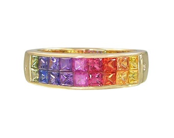 Multicolor Rainbow Sapphire & Diamond Invisible Set Ring 14K Yellow Gold (2.02ct tw) : sku 435-14k-yg