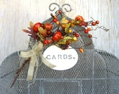 COUPON CODE SPARKLE30 - Birdcage Card Holder : Rustic Woodland Fall Wedding Decoration