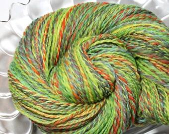 Handspun Yarn - Green Parrot - Falkland Wool, DK Weight, 279 yards