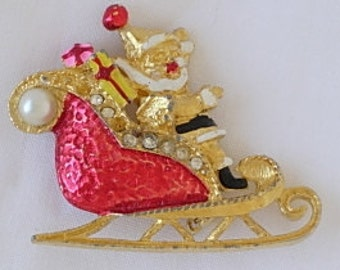 Vintage Santa Claus Sleigh Shabby Chic Charming Christmas Holiday Brooch Enamel Gold Tone Rhinestones Faux Pearls Wrapped Gifts Presents