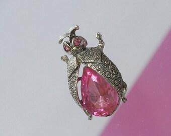 Ladybug Pin with Pink Stone 1970s Vintage