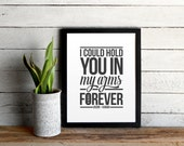 Ray LaMontagne Custom Poster • Hold You In My Arms Lyrics Typographic Print • Personalized with Names and Anniversary Date •Wedding Gift